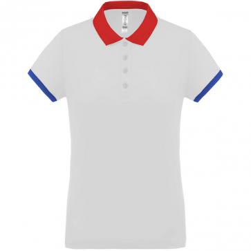 Polo piqué performance - femme - blanc/rouge/bleu royal