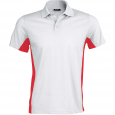 Polo bicolore manches courtes - homme - blanc/rouge