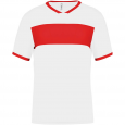 Maillot manches courtes - homme - blanc/rouge