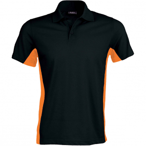 Flag > polo bicolore manches courtes - homme - noir/orange
