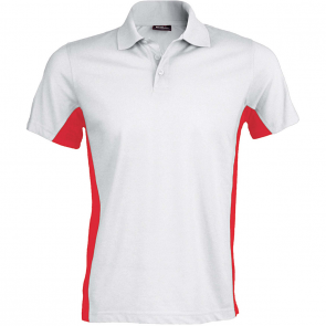 Flag > polo bicolore manches courtes - homme - blanc/rouge