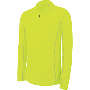 Sweat running 1/4 zip - homme - jaune fluo