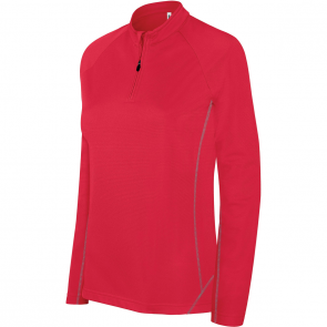 Sweat running 1/4 zip - femme - rouge