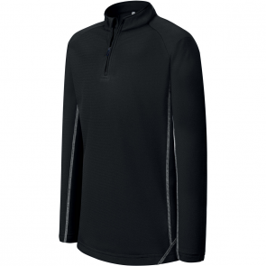 Sweat running 1/4 zip - enfant - noir