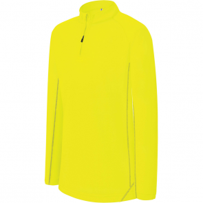 Sweat running 1/4 zip - enfant - jaune fluo