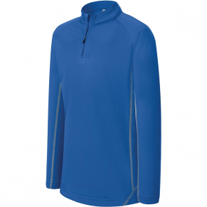 Sweat running 1/4 zip - enfant - bleu royal