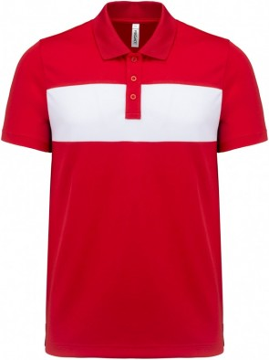 Polo manches courtes adulte rouge/blanc