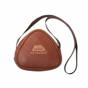 Sacoche cuir de forme arrondie MS Pétanque, coloris marron