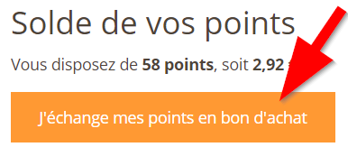 Solde de vos points