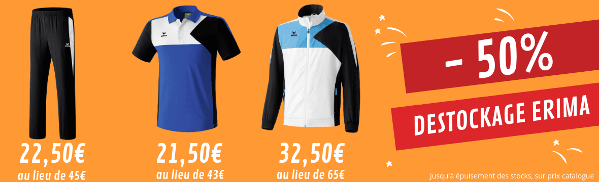 Destockage Erima - 50% : vêtements de sport pétanque